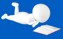 3d character , man lying and reading book. Blue  background - 3d rendering Royalty Free Stock Photography