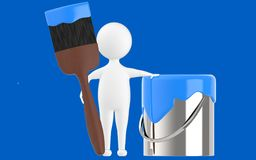 3d character , man paint can and paint brush. Blue  background - 3d rendering Royalty Free Stock Image