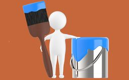 3d character , man paint can and paint brush. Brown  background - 3d rendering Stock Photography