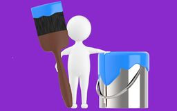 3d character , man paint can and paint brush. Purple  background - 3d rendering Stock Photos