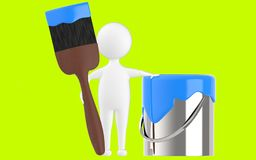 3d character , man paint can and paint brush. Green  background - 3d rendering Royalty Free Stock Photo