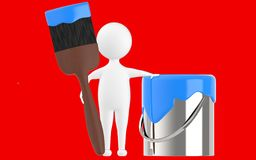 3d character , man paint can and paint brush. Red  background - 3d rendering Royalty Free Stock Photography