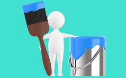 3d character , man paint can and paint brush. Turquoise background - 3d rendering Royalty Free Stock Photography