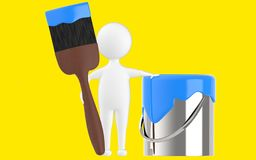 3d character , man paint can and paint brush. Yellow  background - 3d rendering Stock Image