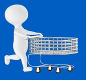 3d character , man pushing empty shopping cart vector illustration