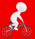 3d character , man riding bicycle. Red  background - 3d rendering Royalty Free Stock Photo