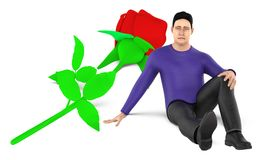 3d character , man , sad , worried sitting near to a flower on the ground. 3d rendering royalty free illustration