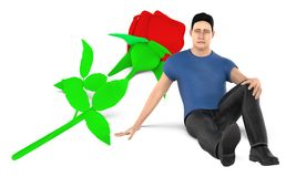 3d character , man , sad , worried sitting near to a flower on the ground. 3d rendering vector illustration