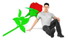 3d character , man , sad , worried sitting near to a flower on the ground. 3d rendering stock illustration
