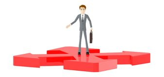 3d character , man standing , four direction arrows , confused vector illustration