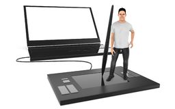 3d character , man standing over a large graphic tablet and lean royalty free illustration