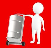 3d character , man , trolley and barrel in it. Red background - 3d rendering royalty free illustration