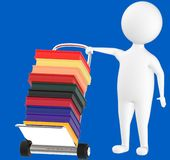 3d character , man and trolley with pile of books in it. Blue  background - 3d rendering Stock Photography