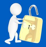 3d character , man unlocked a lock. Blue  background - 3d rendering Stock Photos
