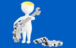 3d character , man waering a safety cap holding wrench and standing near to cogwheels vector illustration
