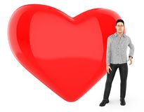 3d character , man worried , sad , standing near to a heart / love shape sign. 3d rendering stock illustration
