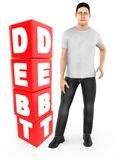3d character , man worry , crying standing near a debt text in cube blocks. 3d rendering stock illustration
