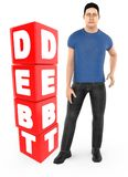 3d character , man worry , crying standing near a debt text in cube blocks. 3d rendering vector illustration