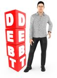 3d character , man worry , crying standing near a debt text in cube blocks. 3d rendering royalty free illustration