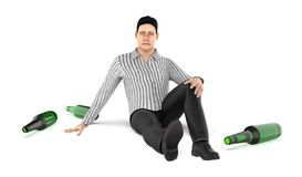 3d character , man , worry , stress , head ache , empty bottles on ground. 3d rendering stock illustration