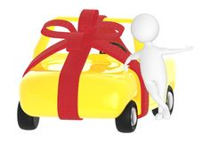 3d character , man , wrapped ribbon car and man leaning over it royalty free illustration