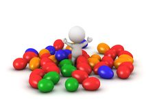 3D Character with many colorful Easter eggs Royalty Free Stock Images