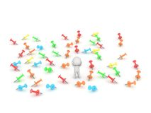 3D Character and many colorful pins Stock Photography