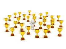 3D Character and Many Gold Trophies Royalty Free Stock Photo