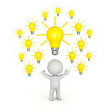 3D Character with Many Light Bulbs Above His Head. 3D character with many light bulb ideas above his head.  on white background Royalty Free Stock Images