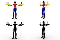 3d character meassage concept Collections With Alpha And Shadow Channel Royalty Free Stock Photography