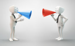 3D character with a megaphone. 3D character with a colorful megaphone - communication concept Stock Image