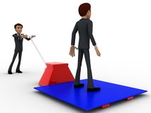 3d character moving other character on blue sheet over red palletizer concept Royalty Free Stock Image