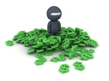 3D Character Ninja and Dollar Symbols. 3D Character dressed as ninja standing in pile of dollar symbols, on white stock illustration