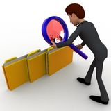 3d character observing folders with magnifying glass concept Stock Images