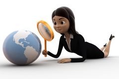3d character observing globe with magnifying glass concept Stock Image