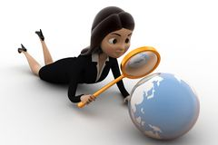 3d character observing globe with magnifying glass concept Stock Photography