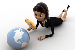 3d character observing globe with magnifying glass concept Royalty Free Stock Photography