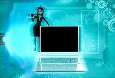 3d character offer to speak in mic with laptop illustration Royalty Free Stock Photo