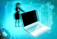 3d character offer to speak in mic with laptop illustration Stock Photo