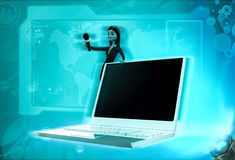 3d character offer to speak in mic with laptop illustration Stock Image