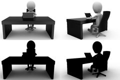 3d character office table concept collections with alpha and shadow channel Stock Image