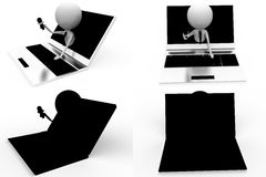3d character online interview concept collections with alpha and shadow channel Stock Photography