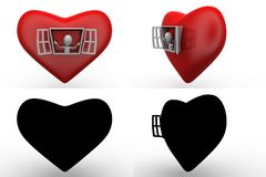3d character open heart window concept collections with alpha and shadow channel Royalty Free Stock Images