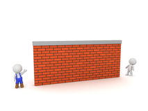 3D Character in Overalls and Large Brick Wall Stock Images