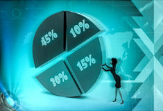 3d character pie graph with percent illustration Stock Image