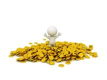 3D Character in pile of Gold Coins Royalty Free Stock Photography