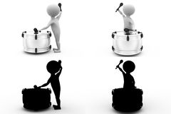 3d character play drum concept collections with alpha and shadow channel Royalty Free Stock Image