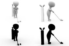 3d character play golf concept collections with alpha and shadow channel Royalty Free Stock Photo
