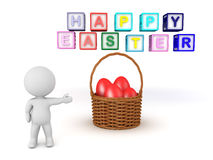 3D Character pointing towards a basket of red easter eggs Stock Images