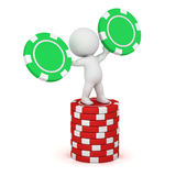 3D Character with Poker Chips Stock Photography